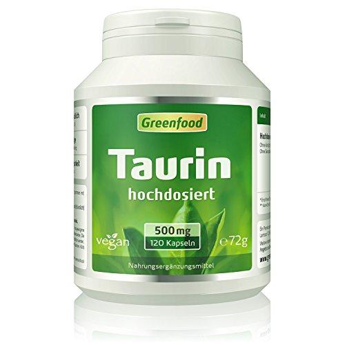 Taurin, 500 mg, hochdosiert, Vegi-Kapseln – natürlicher Muntermacher, leistungssteigernd, hält wach. OHNE künstliche Zusätze. Ohne Gentechnik. Vegan.