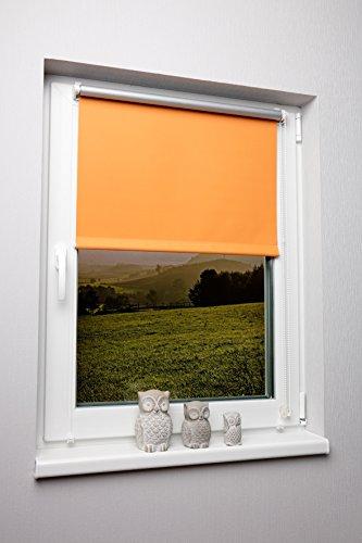 Thermo-Rollo Orange 120x150 cm Ohne Bohren Verdunkelungsrollo Seitenzugrollo Klemmrollo Blackout Silberbeschichtung