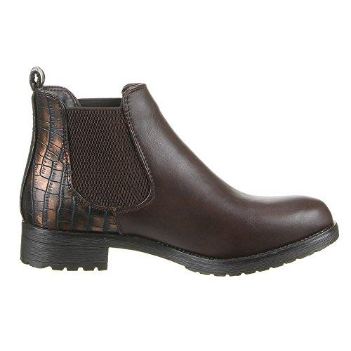 Damen Schuhe, W106, STIEFELETTEN Dunkelbraun
