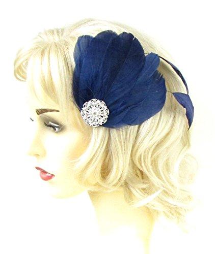 Bleu marine Argent Strass plumes Pince à cheveux courses 81stgeneration Chaîne Strass 563 * exclusivement Vendu par Starcrossed Beauty *