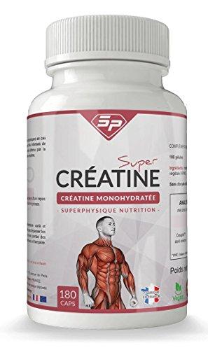 Super Créatine : créatine monohydrate en gélules (1 mois d'utilisation, façonné en France). Convient aux végétariens.