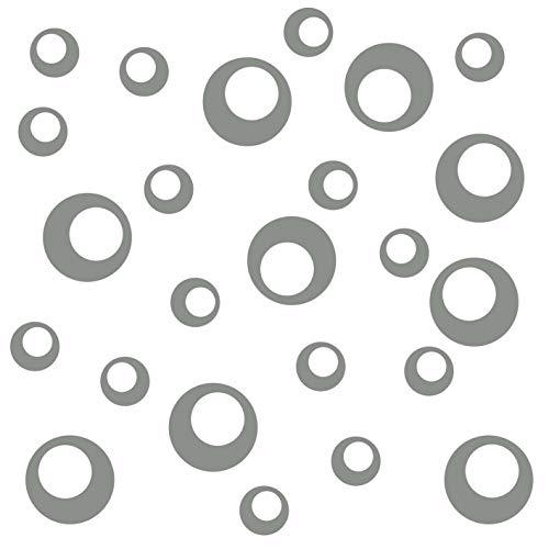 kleb-Drauf®   24 Retro-Punkte   Grau - matt   Wandtattoo Wandaufkleber Wandsticker Aufkleber Sticker   Wohnzimmer Schlafzimmer Kinderzimmer Küche Bad   Deko Wände Glas Fenster Tür Fliese (Wand-vase Dot)