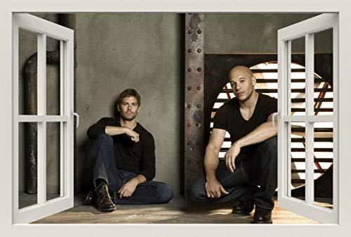 Unified Distribution Fast and Furious Stars Paul Walker und Vin Diesel - Wandtattoo mit 3D Effekt, Aufkleber für Wände und Türen Größe: 92x61 cm, Stil: Fenster