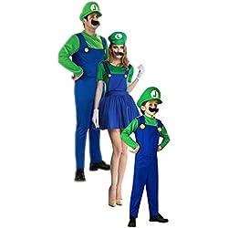 Disfraz Familiar Carnaval Trajes Super Mario Luigi para Niños Adultos Disfraces Fiesta de Carnaval de Halloween Cosplay Sombrero + Ropa + Barba 3 Piezas