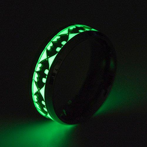 UHUPLUE Beleuchtung, Ringen, leuchtet im Dunkeln Batman/Totenkopf mit Ring Punk-Stil Luminous Band-Ring, Ring für Damen und Herren, Pattern G-Silver, 12 (Für Batman Paare Ringe)