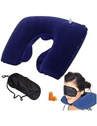 Kakde Multicolor Inflatable Travel Pillow, Eye Mask and Ear Plugs