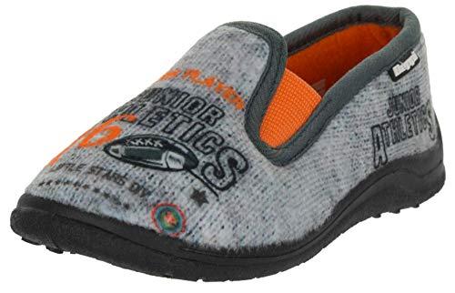 Beppi Kinder Hausschuhe Fleece Schuhe - Slipper mit Motiven, Hellgrau, 35