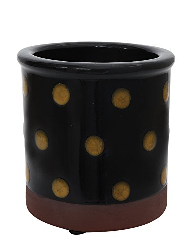 creative-co-op-da6941-medium-black-decorative-hand-painted-terra-cotta-crock-with-polka-dots