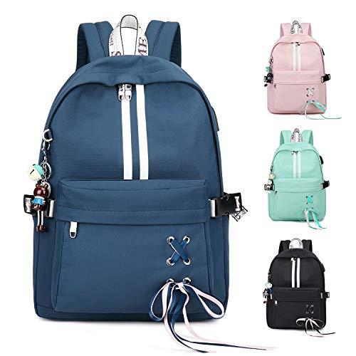 FEDUAN Campus Rucksack Daypack Schultasche Schulrucksack Studententasche Laptop-Rucksäcke mit USB/Kopfhörer Anschluss Tagesrucksack modisch Reiserucksack Mädchen Jungen Teenager groß 18L (M4 blau)