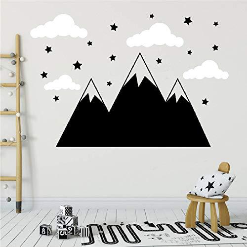 Petite Motorhaube (ljmljm 42x58cm weiße Wolken Sterne nordische Berge geschnitzt Selbstklebende Wandsticker Kinderzimmerdekoration)