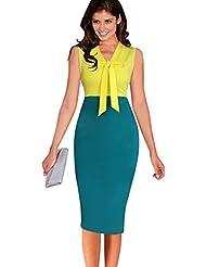 Good dress Sin mangas, escote un lazo con bolsa de cadera falda,Amarillo,S