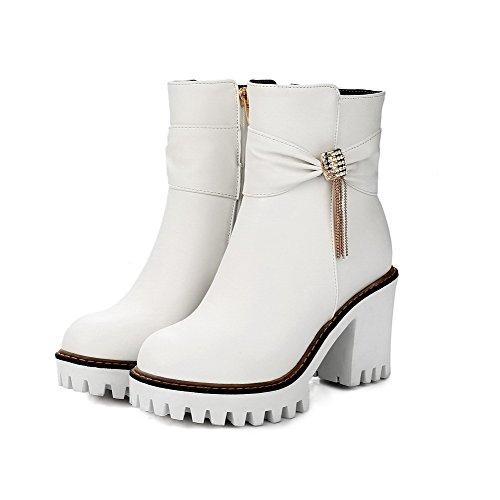 VogueZone009 Damen Rund Zehe Niedriger Absatz Niedrig-Spitze Eingelegt Stiefel mit Schnalle, Weiß, 39