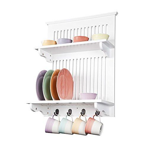 Aston Weiß Küche Tellerhalter,Holz und Wandmontage. Feste Regal oben mit Haken unter, Zeitgenössisches Design von Elegant Brands (Teller-regal-wand-display)