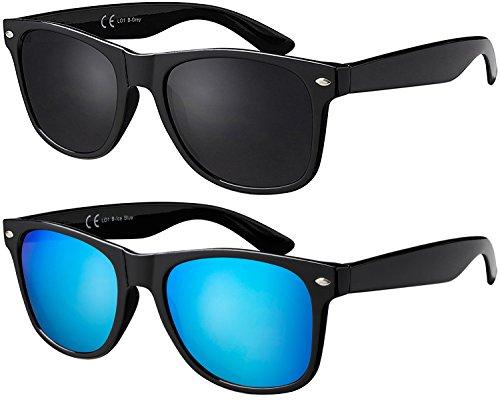 Sonnenbrille La Optica UV 400 CAT 3 Unisex Nerd Sonnenbrille - Doppelpack Glänzend Schwarz (Gläser: 1 x Grau, 1 x Hellblau verspiegelt))