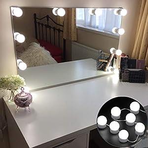 LED Schminklicht Kosmetikspiegel Leuchte Hollywood Art Spiegelleuchten USB Netzstecker mit 10 Dimmable LED-Birnen für Schminktisch