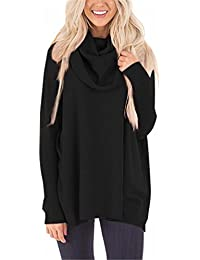 FIYOTE Womens Loose Cowl Neck Long Sleeve Solid Knit Pullover Sweater