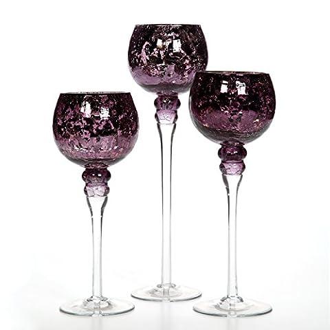 Hosley's ® Set of 3 Crackle Purple Glass Tealight Holders (9