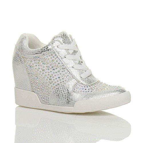 Donna tacco zeppa alto stringhe casuale scarpe da ginnastica stivaletti numero Bianco