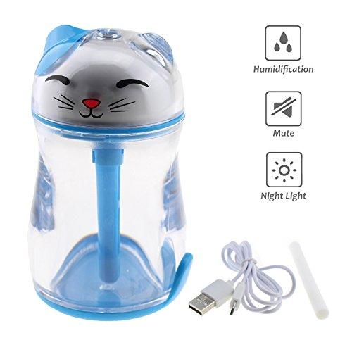 Tipmant Tragbar Mini Glückliche Katze Luftnebel-Luftbefeuchter mit Led-Nachtlichtern, USB Powered für Schlafzimmer, Büro, Auto, Reise, Hotel (Blau) (2-zimmer-zelt)