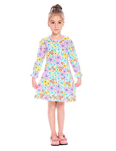 CHIGANT Mädchen Langarmkleid T-shirt Kleid Drucken Cartoon Kleid mit Rundhalsausschnitt Gr.90-130 2-17 Jahre