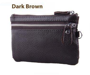 100% aus echtem Leder, Farbe: Dunkelbraun, -disco, Night Out, Clutch, Geldbörse, mit Ständer, für Make-up Bag, Tasche für Handy Schutzhülle, aus echtem Leder, Farbe: Dunkelbraun