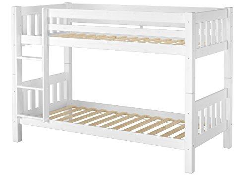 Erst-Holz® Schönes Stockbett Kiefer Massivholz weiß 90x200cm Kinderzimmer Etagenbett + Rollrost 60.06-09W -