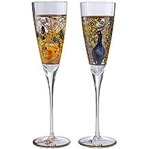 Goebel–Artis Orbis Gustav Klimt Sektgläser Set + Parakeets Pfau Porzellan H 24cm