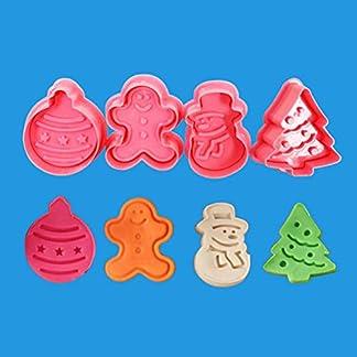 NOENNULL Molde de silicona de Navidad Decoración de pasteles, cortadores de galletas de 4 piezas Árbol Sello Cortador de mango con resorte Moldes Fondant Cake Topper Herramientas DIY