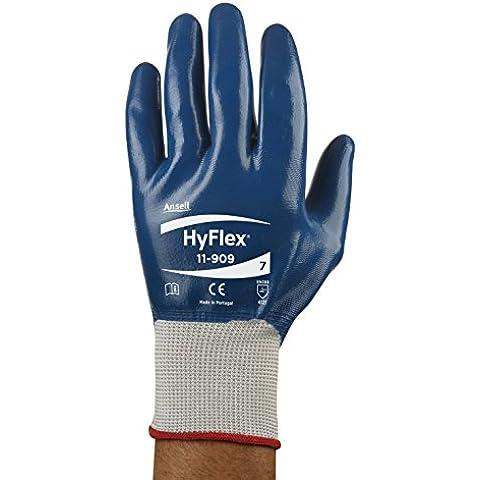 Ansell HyFlex 11-909 Guanti oléofuges, protezione meccanico, colore: blu (Confezione da 12 paia)
