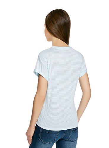 oodji Ultra Damen Gestreiftes T-Shirt mit Lurex-Schriftzug Weiß (1065S) ...