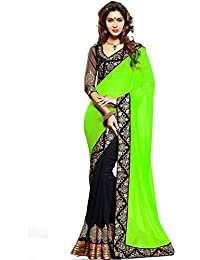 Nena Fashion Women's Georgette Saree With Blouse Piece Green & Black Saree