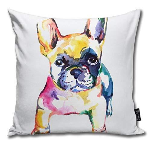 Elsaone Bulldog francés Bulldog Blanco Fundas de cojín de Arco Iris Fundas...