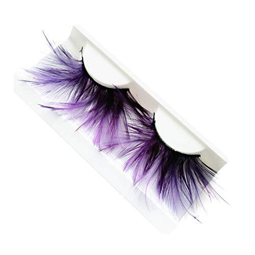 Nikgic Faser Feder 1 Paar Super Dick Falsche Wimpern Wiederholbare Verwendung Künstliche Wimpern Makeup Augen Make-up Werkzeug Halloween Requisiten anziehen 11 * 5,2 * 1,5 cm(Lila)