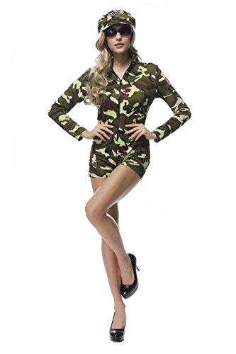 Kostüm Fallschirmjäger Frauen - Bslingerie Damen Fallschirmjäger Halloween Kostüm Bodysuit (Grüne Camouflage, L)