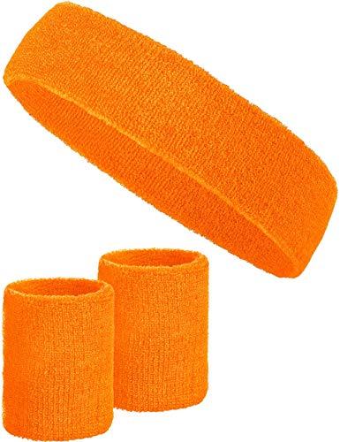 Balinco 3-teiliges Schweißband-Set mit 2X Schweißbändern für die Handgelenke + 1x Stirnband für Damen & Herren (Orange)