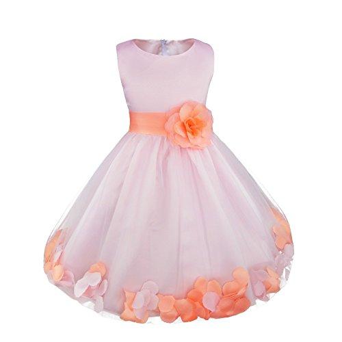 iEFiEL Mädchen Kleid Pinzessin Blumen-Mädchen Kinder Weiß Kleid Hochzeit Festkleid Kommunionkleid 92 98 104 110 116 128 140 152 164 (98, Rosa) (1. Kommunion Für Kleid Die Weißes)