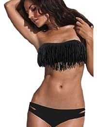 Demarkt Sexy 2 Pièces Maillots de Bain/Swimwear Bustier Rembourrée -Bikini à Frange Pour Femme avec Couleur Noir/Taille S/M/L