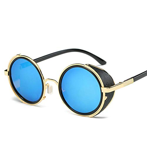 HUILIN Steampunk Sonnenbrille Damen runde Brille Herren Seite Sonnenschirm runde linse Unisex Retro Retro Style Punk, 4 Gold blau