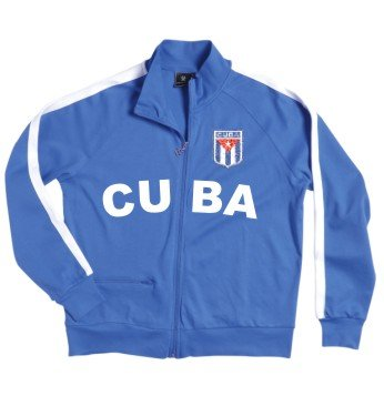 Cuba/Kuba Zip Jacke mit gesticktem Wappen S-XXL blau/weiss L