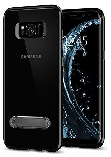 Galaxy S8 Plus Hülle Klare Hard PC Rückschale + TPU Rahmen Integrierter Kickstand Schutzhülle Case Ultra Hybrid Selbst Ständer Stoßfest für Samsung Galaxy S8+ S8 Plus (Galaxy S8+ S8 Plus, Schwarz) -