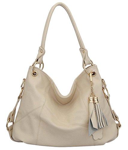 Ichic Boutique(TM)Damen Handtaschen Hobo-Bags Schultertaschen Beutel Beuteltaschen Leder Tasche,Beige