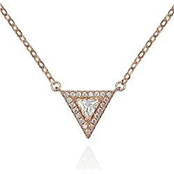 Collar Triángulo con Circonitas. Color Plata o Bañado en Oro Rosa en Cadena de Eslabones con Piedras Incrustadas