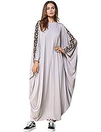 fca4109539002 TOOGOO Robe Abaya Musulmane Robe De Col Rond à Manches Unie Solides Pour  Femme Robes Lache