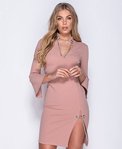 Ladies Flare Sleeve Chain Detail Bodycon Dress EUR Taille 36-42 Rose