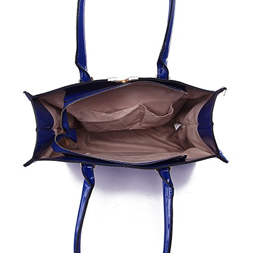 LeahWard® Damen Kunstleder Tote Handtaschen Groß Schultertasche Für Sie Blau