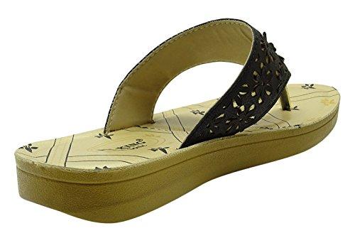 Sonic lanières sandale flip flop plage extérieure dames de mode pantoufle chaussures Noir