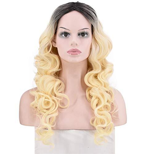 Haludock Frauen mischen Farben lange lockige synthetische Perücke volle natürliche Perücke gewellte Perücke mit Perücke Kappe -