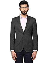 Raymond Full Sleeve Dark Grey Polyester Blend Slim Fit Blazer for Men