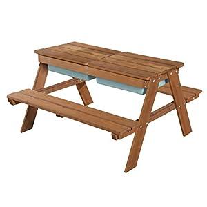 roba Kindersitzgarnitur Outdoor + mit Spielwannen, wetterfeste Massivholz Sitzgarnitur & Matschtisch für drinnen und draußen, Tisch mit abnehmbarer Tischplatte und 2 Kunststoff-Wannen
