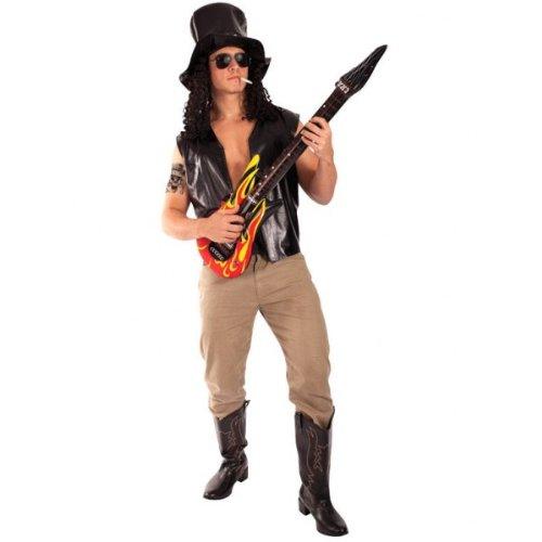 Rockband Gitarrist Kostüm Karneval Fasching Herren Verkleidung (Slash Kostüm Hut)